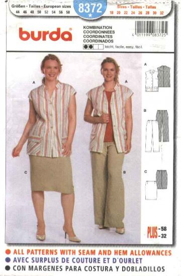 Burda Sewing Pattern 8372 Plus Sizes 18-32 Easy Blouse Top Skirt Pants
