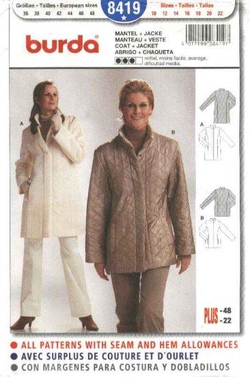 Burda Sewing Pattern 8419 Misses Sizes 10-22 Coat Jacket