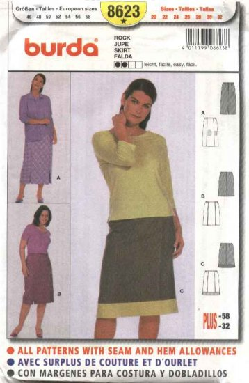 Burda Sewing Pattern 8623 Women's Plus Sizes 20-32 Easy Lined Skirts