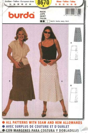 Burda Sewing Pattern 8670 Misses Sizes 8-18 Easy Skirts