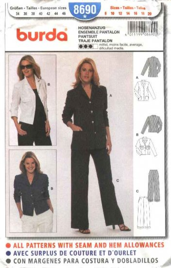 Burda Sewing Pattern 8690 Misses Sizes 8-20 Pantsuit Pants jacket