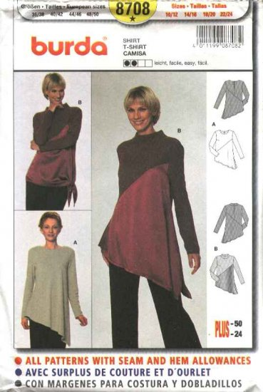 Burda Sewing Pattern 8708 Misses Sizes 10/12-22/24 Easy Top Tunic Shirt