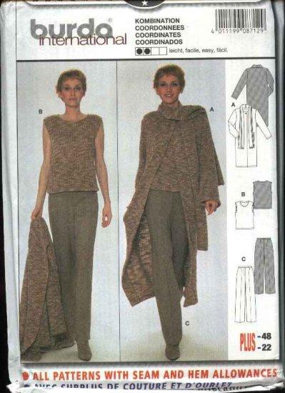 Burda Sewing Pattern 8712 Misses Sizes 10-22 Easy Duster Top Pants