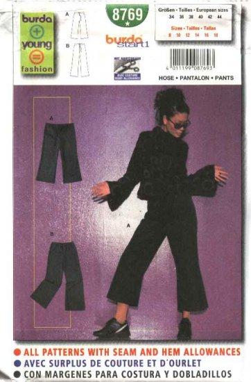 Burda Sewing Pattern 8769 Misses 8-18 Easy Flared Pants