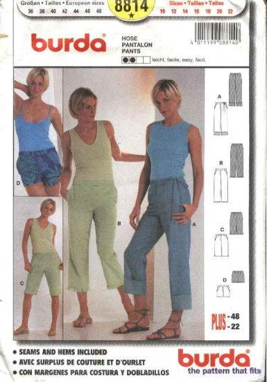 Burda Sewing Pattern 8814 Misses Sizes 10-22 Easy Pants Shorts Capris