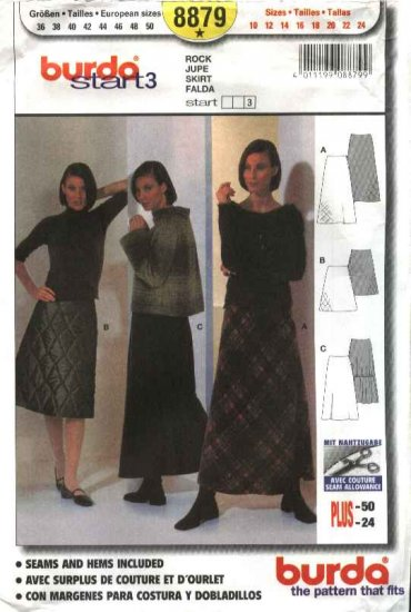 Burda Sewing Pattern 8879 Misses Sizes 10-24 Easy A-Line Skirts