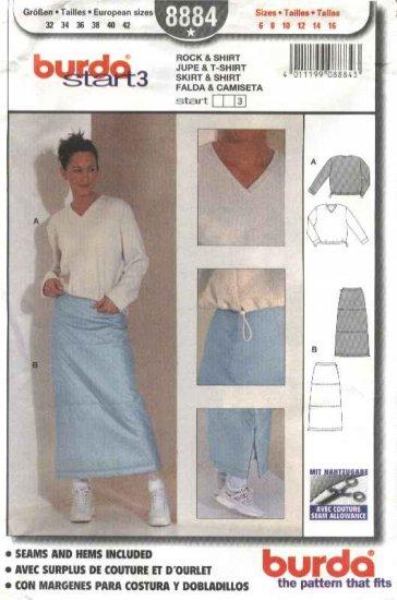 Burda Sewing Pattern 8884 Misses Sizes 6-16 Easy Skirt Pullover Shirt