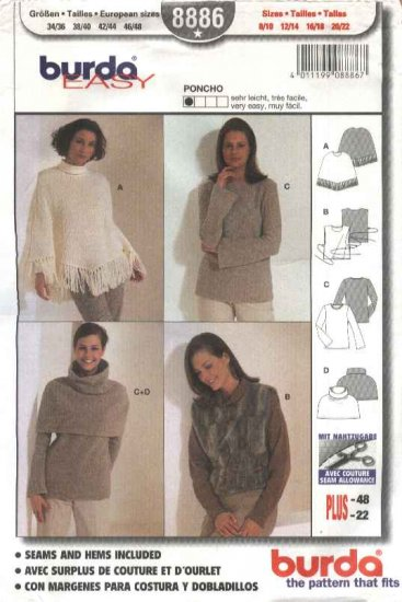 Burda Sewing Pattern 8886 Misses Sizes 8/10-20/22 Easy Poncho Top Tabard
