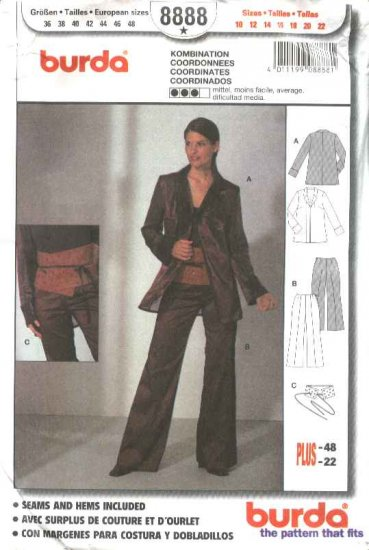 Burda Sewing Pattern 8888 Misses Sizes 10-22 Jacket Pants Belt Coordinates