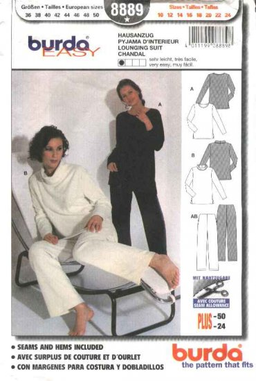 Burda Sewing Pattern 8889 Misses Sizes 10-24 Easy Lounging Suit Top Pants