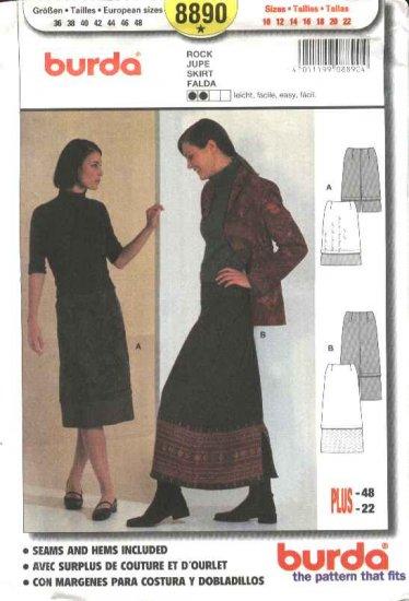 Burda Sewing Pattern 8890 Misses Sizes 10-12-14-16-18-20-22 Easy Skirts Decorative Hemline