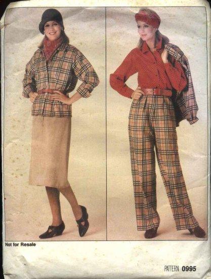 Vogue Sewing Pattern 0995 Misses Size 8-10-12 Retro Jacket Skirt Pants Top