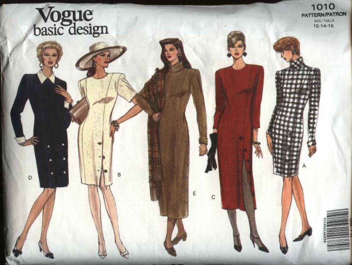 Vogue Sewing Pattern 1010 Misses Size 12-14-16 Easy Basic Straight Dress