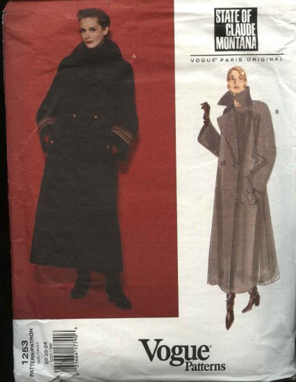 Vogue Sewing Pattern 1253 Misses Size 20-22-24 State of Claude Montana Paris Original Long Coat