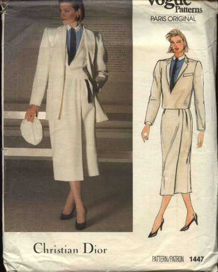 Vogue Sewing Pattern 1447 Misses Size 10 Christian Dior Coat Jacket Skirt Shirt