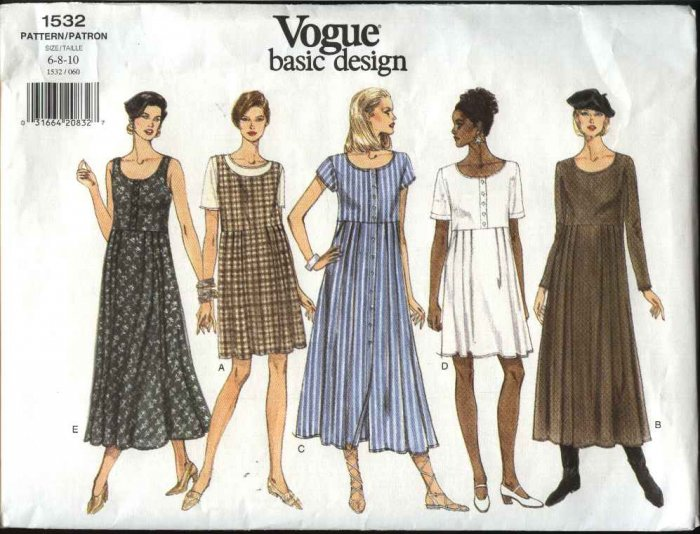 Vogue Sewing Pattern 1532 Misses Size 6-8-10 Easy Basic Dress Jumper Empire Waist