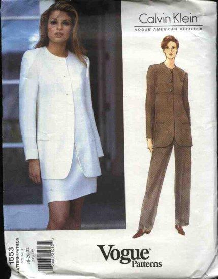 Vogue Sewing Pattern 1553 Misses Size 18-20-22 Calvin Klein Jacket Pants Skirt
