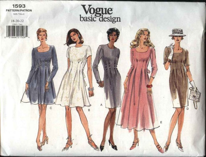 Vogue Sewing Pattern 1593 Misses Size 6-8-10 Easy Classic Dress