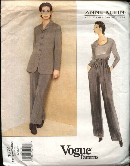 Vogue Sewing Pattern 1674 Misses Size 18-22 Anne Klein Pants Jacket