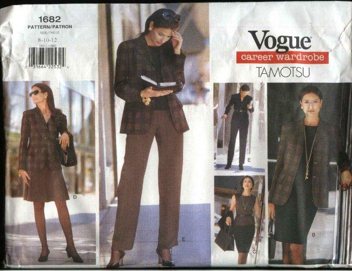 Vogue Sewing Pattern 1682 Misses Size 8-12 Tamotsu Wardrobe Jacket Top Dress Skirts Pants