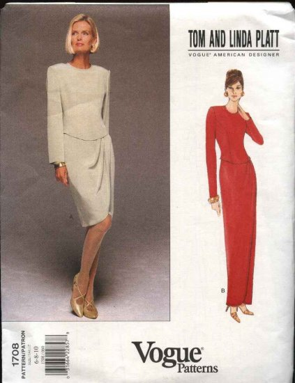 Vogue Sewing Pattern 1708 Misses Size 6-10 Easy Formal Dress Evening Gown Tom & Linda Platt