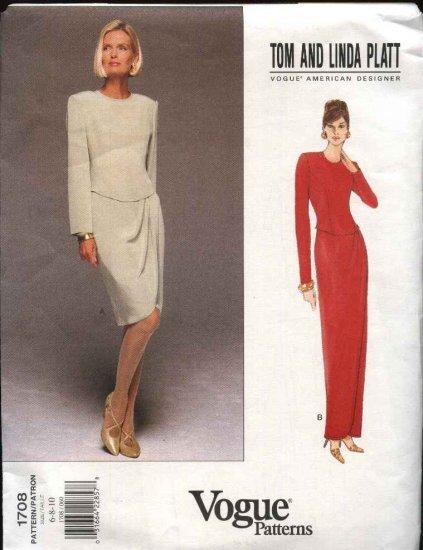 Vogue Sewing Pattern 1708 Misses Size 18-22 Easy Formal Dress Evening Gown Tom & Linda Platt