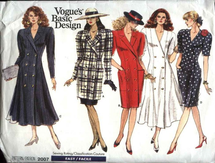 Vogue Sewing Pattern 2007 Misses Size 8-10-12 Easy Button Front Dress Tunic Skirt