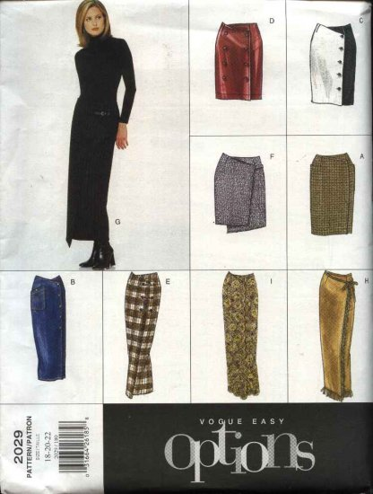 Vogue Sewing Pattern 2029 Misses Size 6-8-10 Easy Front Wrap Skirt Length Trim variations