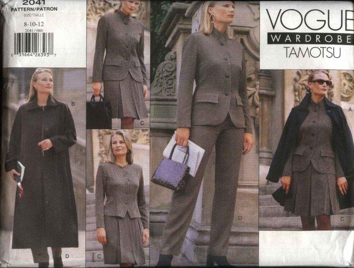 Vogue Sewing Pattern 2041 Misses Size 8-12 Tamotsu Wardrobe Coat Jacket Top Skirt Pants