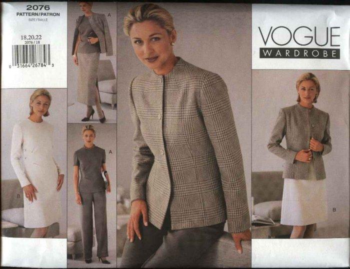Vogue Sewing Pattern 2076 Misses Size 12-14-16 Easy Wardrobe Jacket Skirt Dress Top Pants