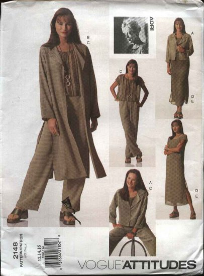 Vogue Sewing Pattern 2148 Misses Size 6-8-10 Easy ADRI Jacket Duster Slip Top Pants Dress