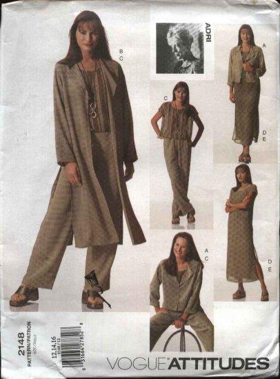 Vogue Sewing Pattern 2148 Misses Size 12-14-16 ADRI Top Pants Dress jacket Duster Slip