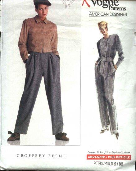 Vogue Sewing Pattern 2182 Misses Size 6-8-10 Jacket Jumpsuit Geoffrey Beene