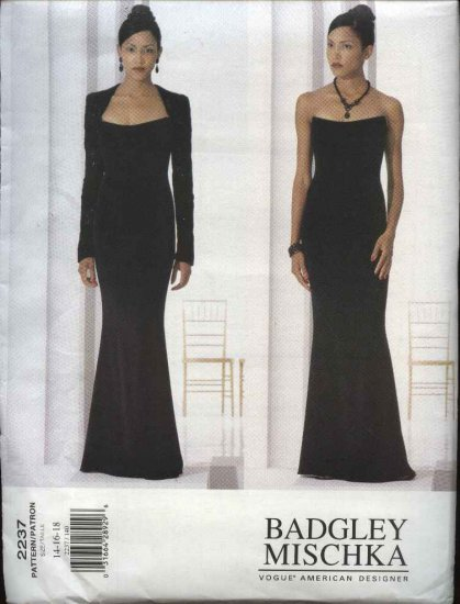Vogue Sewing Pattern 2237 Misses Size  8-10-12 Badgley Mischka Formal Dress Shrug Evening Gown