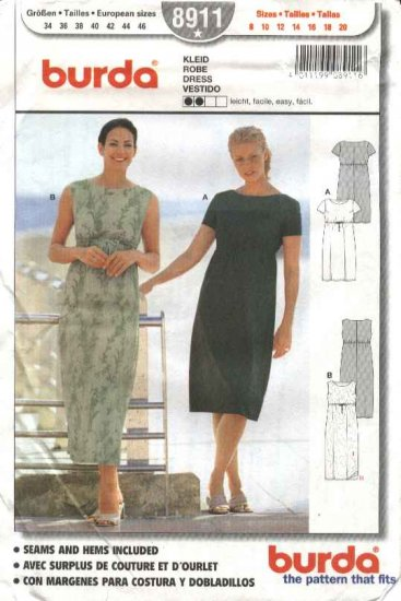 Burda Sewing Pattern 8911 Misses Sizes 8-20 Easy Pullover Dress