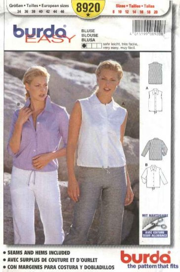 Burda Sewing Pattern 8920 Misses Size 8-20 Easy Blouse Top Shirt