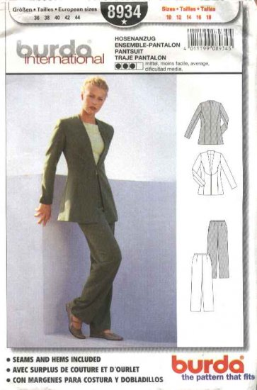 Burda International Sewing Pattern 8934 Misses Sizes 10-18 Pantsuit Pants Jacket