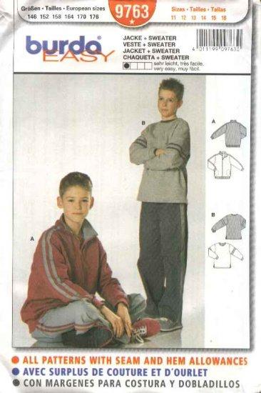 Burda Sewing Pattern 9763 Boys Size 11-16 Easy Jacket Sweatshirt