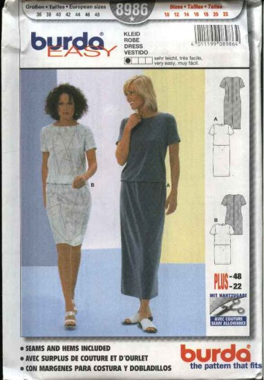 Burda Sewing Pattern 8986 Misses Sizes 10-22 Easy Dress