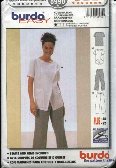 Burda Sewing Pattern 8990 Misses size 10-22 Easy Assymetrical Blouse Pull-on Pants