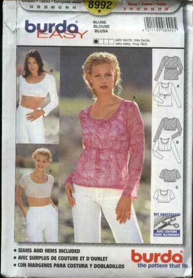 Burda Sewing Pattern 8992 Misses sizes 8-20   Easy Pullover top Blouse Empire Waist