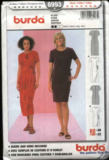 Burda Sewing Pattern 8993 Misses Sizes 10-22 Easy Mock Front Wrap Dress