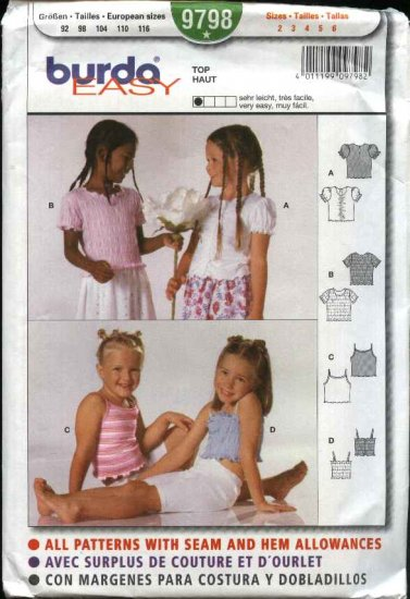 Burda Sewing Pattern 9798 girls Size 2-6 Easy Pullover Tops Camisoles