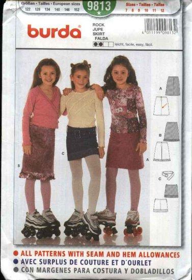 Burda Sewing Pattern 9813 Girls Size 7-12 A-Line Skirt Mini-skirt Belt