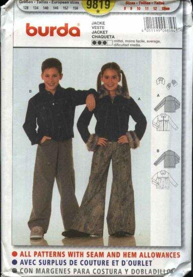 Burda Sewing Pattern 9819 Boys Girls Sizes 8-13Jr Denim Jean Jacket