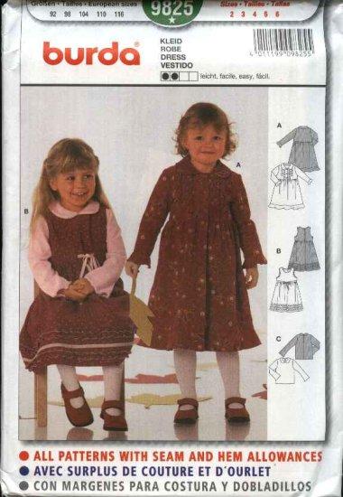 Burda Sewing Pattern 9825 Girls Size 2-6 Easy Dress Jumper Top Blouse