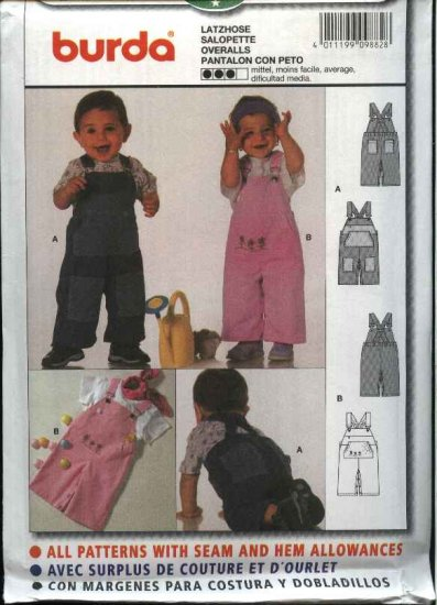 Burda Sewing Pattern 9882 Boys Girls Sizes 3 month - 18 month Overalls