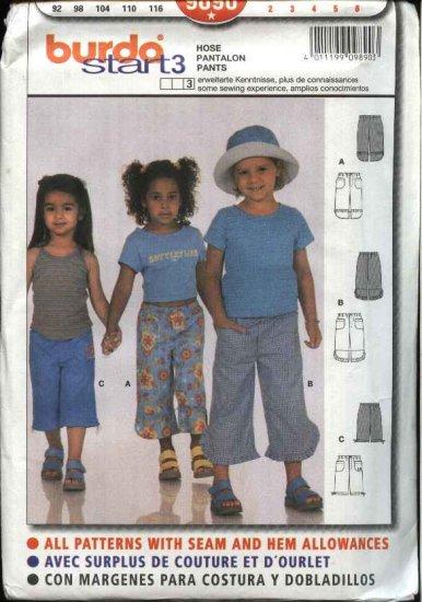 Burda Sewing Pattern 9890 Girls Size 2-6 Pants Capris