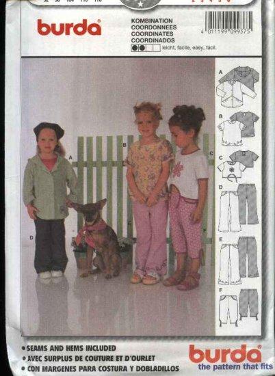 Burda Sewing Pattern 9937 Girls Size 2-6 Easy Jacket Top Pants