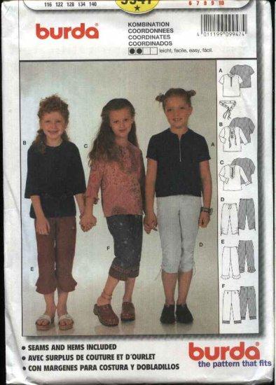 Burda Sewing Pattern 9947 Girls size 6-10 Easy Tops Pants Belt